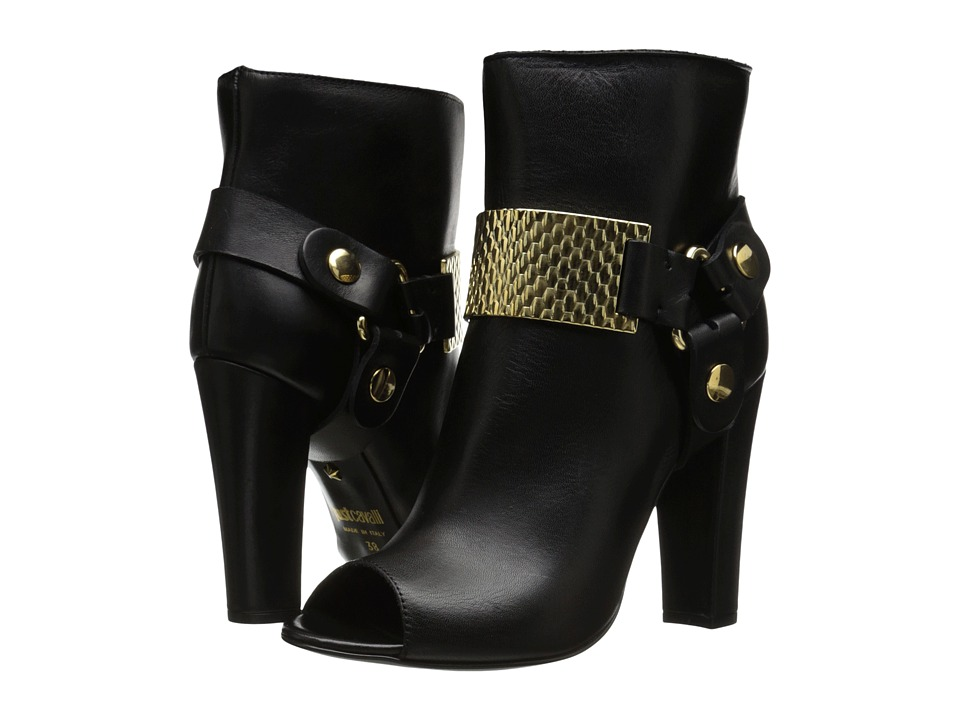 Just Cavalli Peep Toe Bootie with Gold Hardware (Black) Women