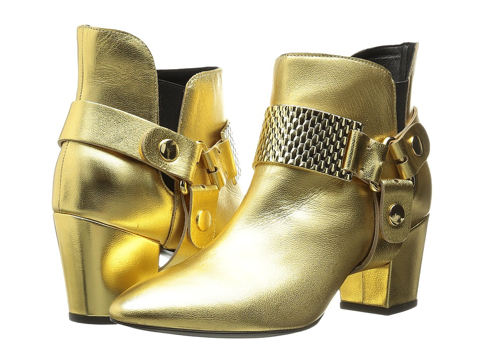 Just Cavalli - Low Heel Bootie with Gold Hardware (Gold) Women