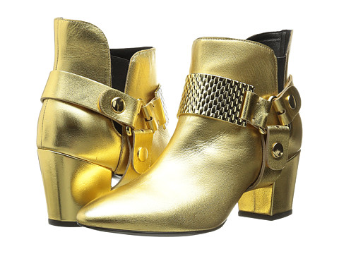 Just Cavalli - Low Heel Bootie with Gold Hardware (Gold) Women's Pull-on Boots