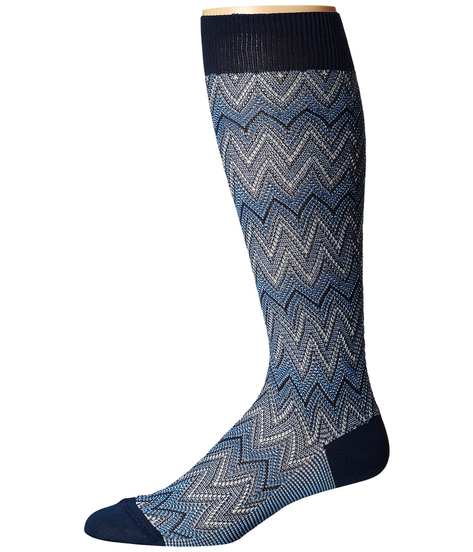 Missoni - GM00CMU4946 (Blue) Men's Knee High Socks Shoes