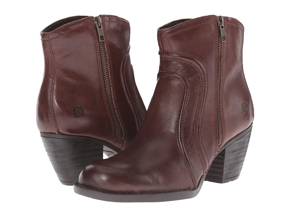 Born - Anny (Toscano/Mid Brown Full Grain Leather) Women's Zip Boots