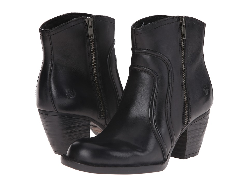 Born - Anny (Black Full Grain Leather) Women's Zip Boots