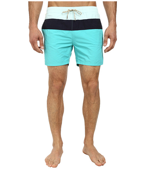 Scotch & Soda - Medium Color Block Swimshorts (Teal) Men's Swimwear