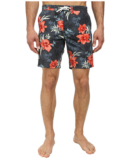 Scotch & Soda - Long Printed Swimshorts (Navy/Red) Men's Swimwear