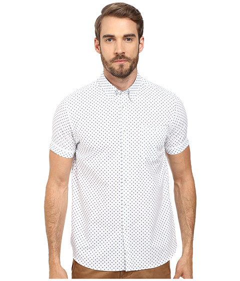 Ted Baker - Thame Short Sleeve Printed Spot Shirt (White) Men's Clothing
