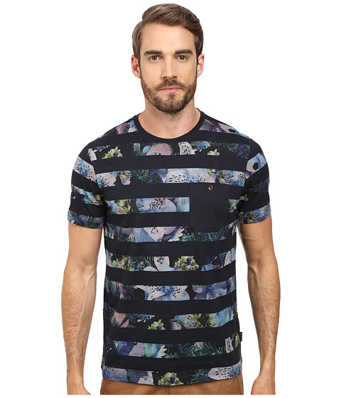 Ted Baker - Aldale Short Sleeve Stripe Printed T-Shirt (Navy) Men's T Shirt