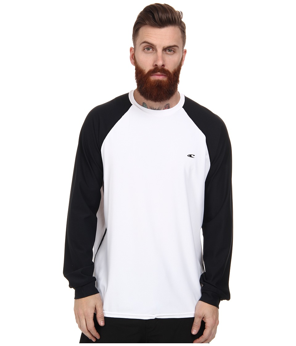 O'Neill - 24-7 Tech Long Sleeve Crew (White/Black/Black) Men's Swimwear