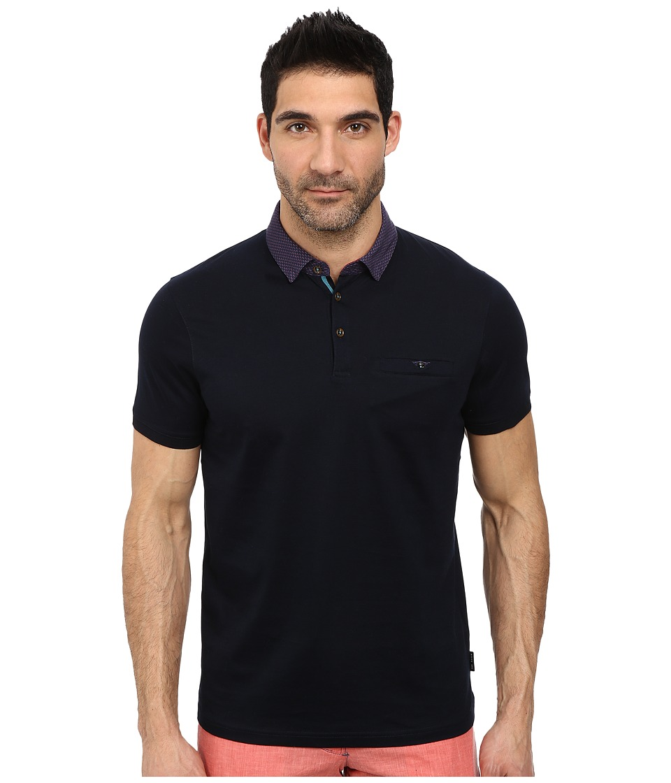 Ted Baker - Gabes Short Sleeve Woven Collar Polo (Navy) Men's Short Sleeve Pullover