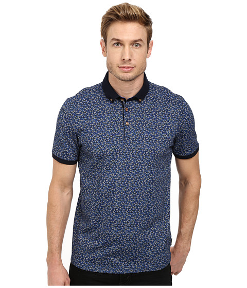 Ted Baker - Flowbo All Over Floral Printed Polo (Blue) Men's Clothing