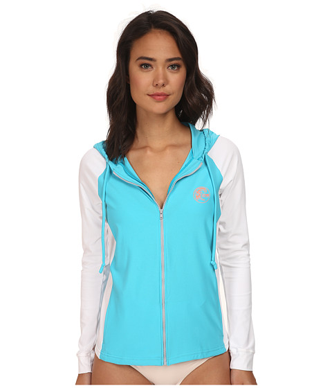O'Neill - Tech Long Sleeve Zip Hoodie (Turquoise/White) Women's Sweatshirt