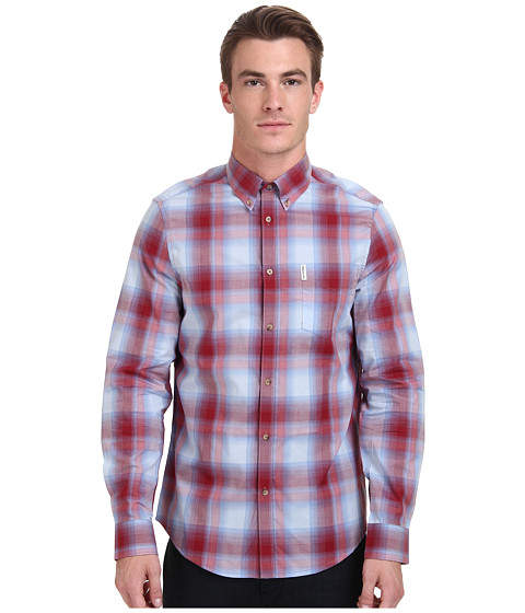 Ben Sherman - Long Sleeve Poplin Ombre Check MA11369 (Sky Blue) Men's Clothing