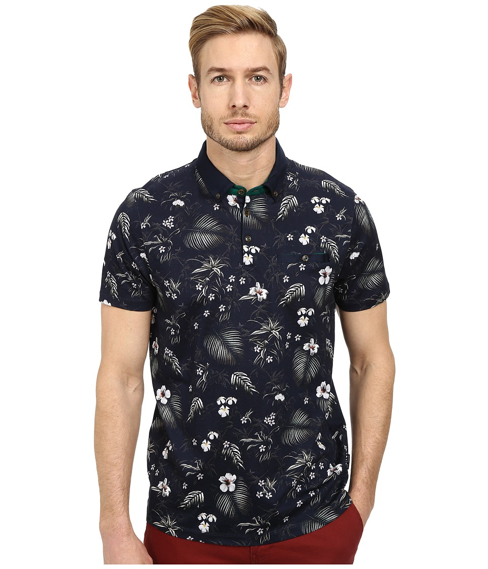 Ted Baker - Format Short Sleeve Jungle Printed Polo (Navy) Men