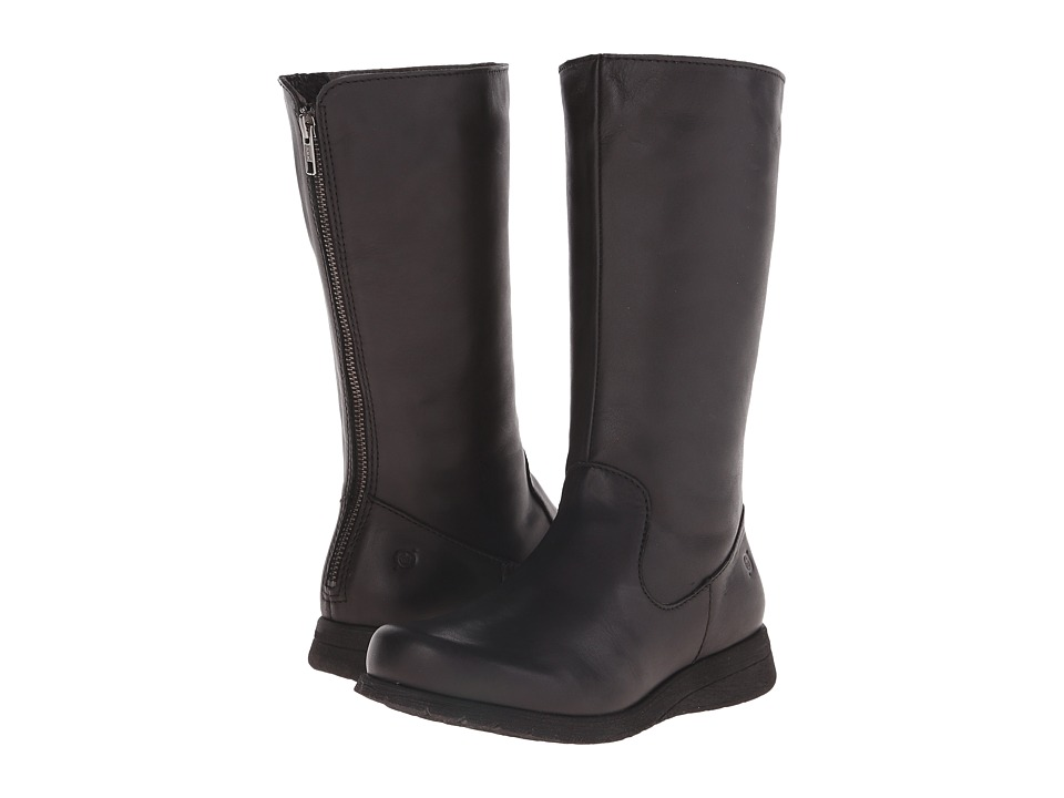 Born - Minnola (Black Full Grain Leather) Women's Zip Boots
