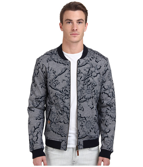 Ted Baker - Sunbo Floral Print Reversible Bomber Jacket (Navy) Men's Coat