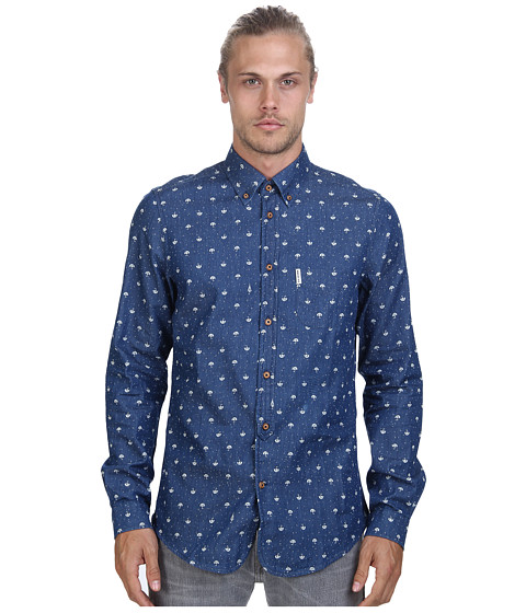 Ben Sherman - Long Sleeve Umbrella Print Woven MA11384A (Washed Blue) Men's Long Sleeve Button Up