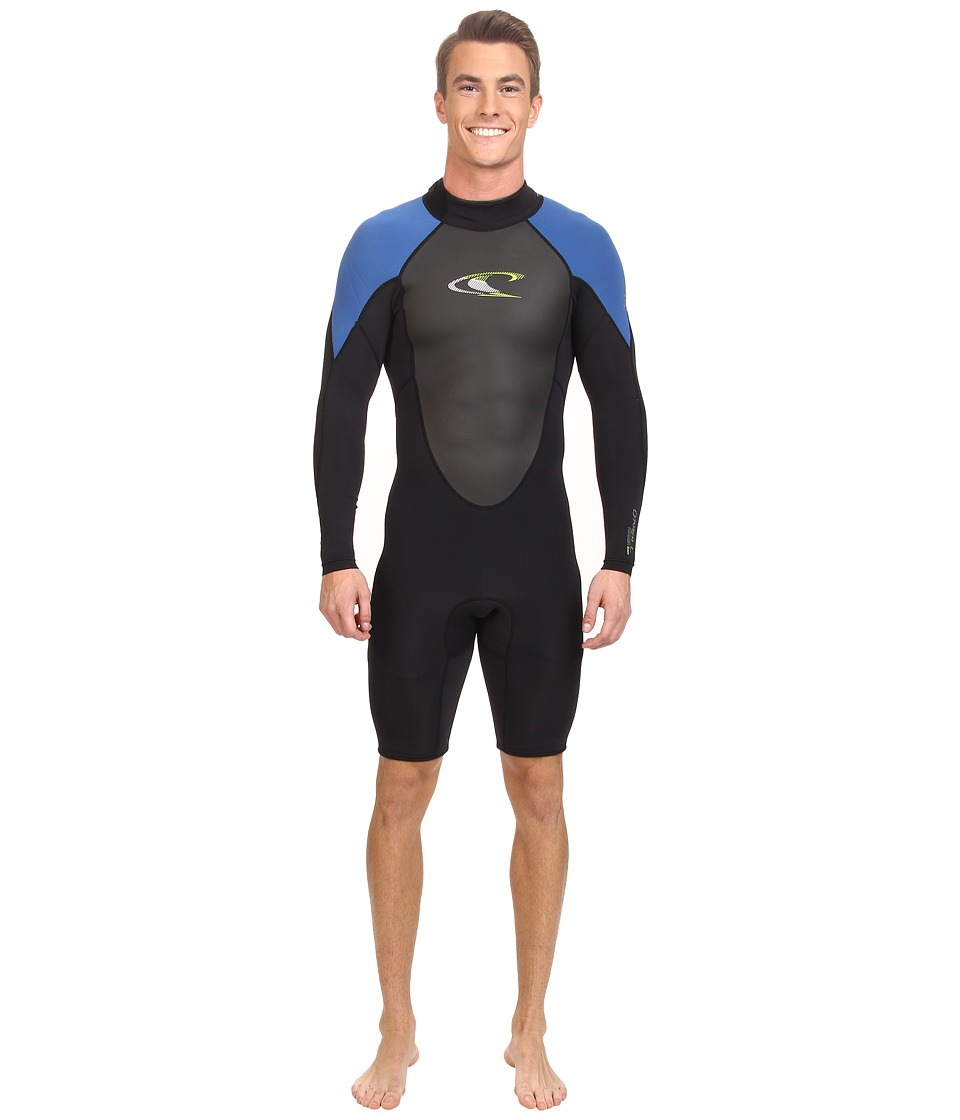 O'Neill - Hammer L/S Spring (Black/Deepsea/Lime) Men's Wetsuits One Piece