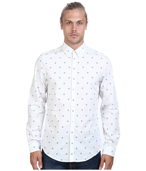 Ben Sherman - Long Sleeve Mosaic Geo Print Woven MA11402 (Off White) Men