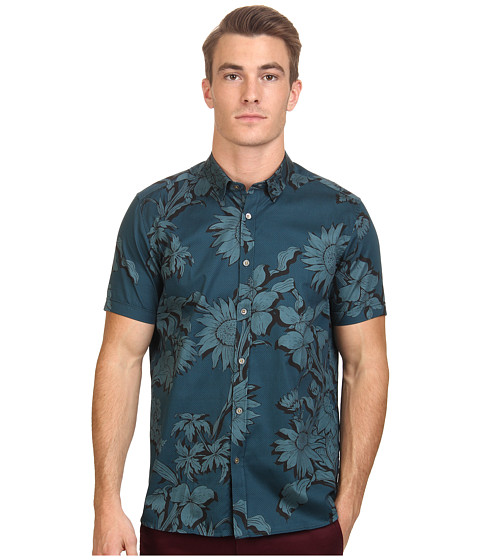 Ted Baker - Flowley Short Sleeve Large Scale Floral Shirt (Teal) Men's Clothing
