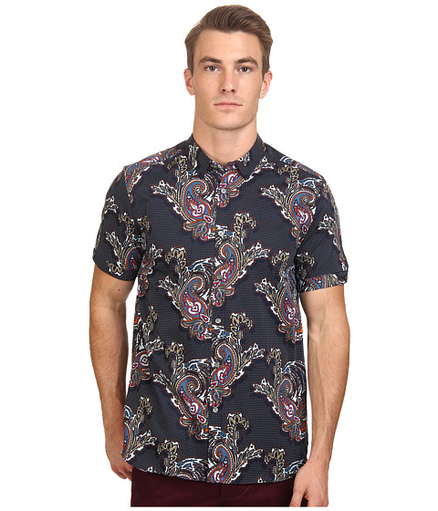 Ted Baker - Wisely Short Sleeve Bright Paisley Print Shirt (Navy) Men's Clothing