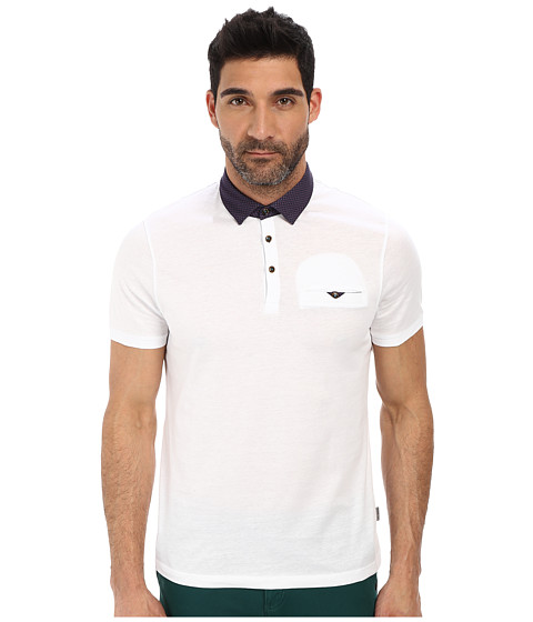 Ted Baker - Gabes Short Sleeve Woven Collar Polo (White) Men's Short Sleeve Pullover