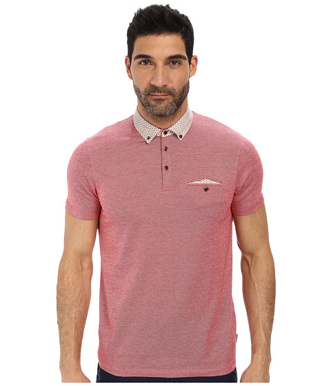 Ted Baker - Jesscat Short Sleeve Woven Collar Polo (Red) Men