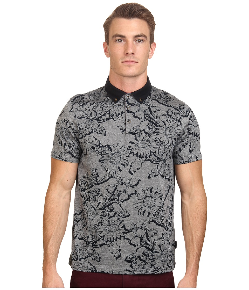 Ted Baker - Athias Short Sleeve Floral Printed Polo (Navy) Men