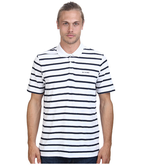 Ben Sherman - Short Sleeve Breton Striped Polo MC11457 (Bright White) Men's Short Sleeve Pullover