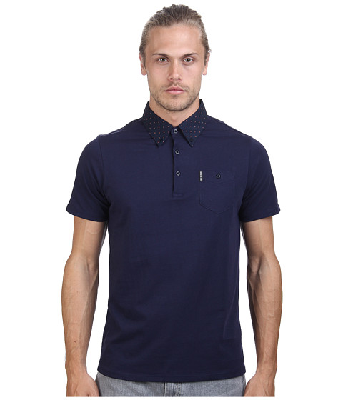 Ben Sherman - Short Sleeve 2 Finger Collar Polo MC11482A (Navy Blazer) Men
