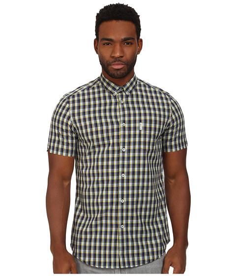 Ben Sherman - Short Sleeve Cotton Linen Check Woven MA11351A (Navy Blazer) Men's Short Sleeve Button Up