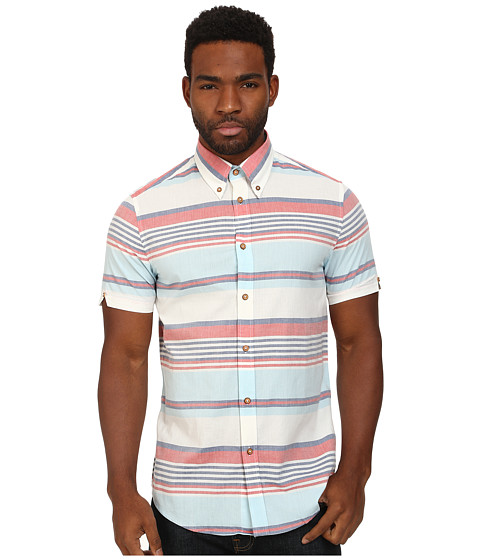 Ben Sherman - Short Sleeve Vintage Stripe Woven MA11392 (Bright White) Men's Short Sleeve Button Up