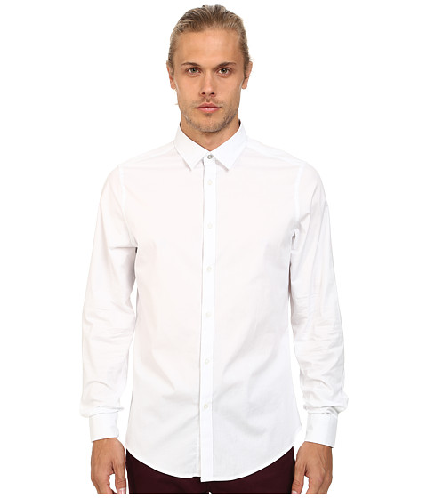 Ben Sherman - Long Sleeve Stretch Plain Woven MA11680 (Bright White) Men's Clothing