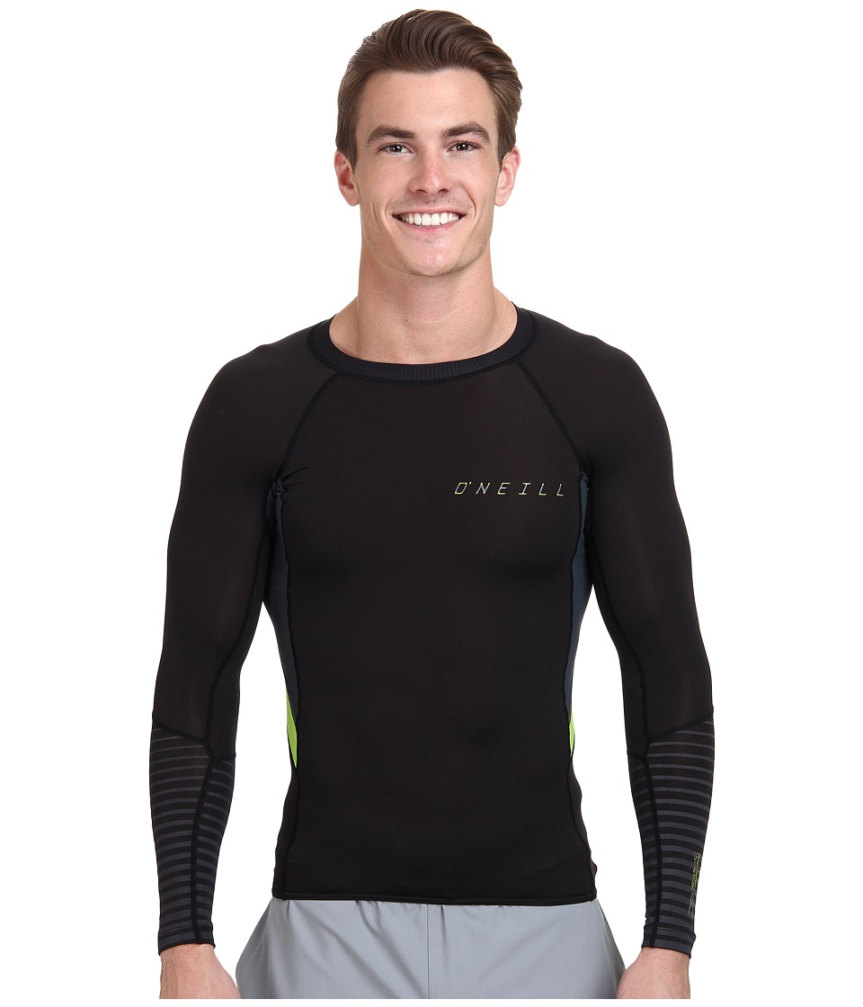 O'Neill - O'Zone Comp Long Sleeve Crew (Black/Graphite/Lime) Men's Swimwear