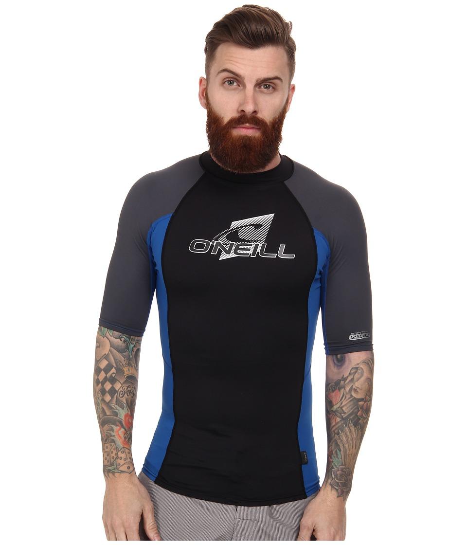 O'Neill - Skins S/S Crew (Black/Deepsea/Graphite) Men's Swimwear