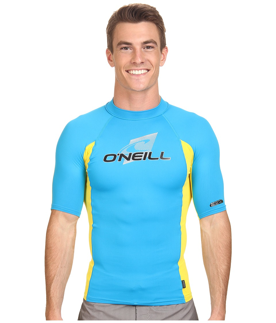O'Neill - Skins S/S Crew (Sky/Yellow/Sky) Men's Swimwear