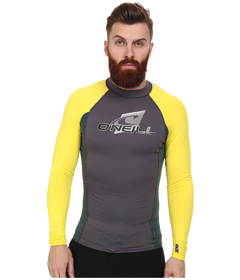 O'Neill - Skins L/S Crew (Graphite/Combat/Yellow) Men's Swimwear