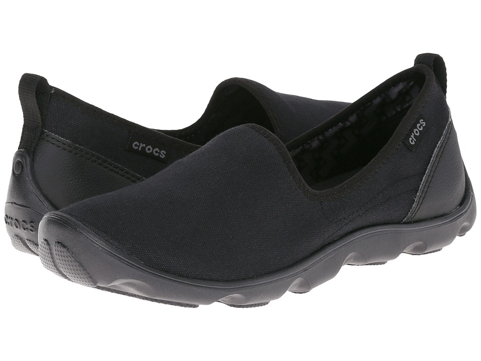 Crocs - Busy Day Canvas Skimmer (Black/Black) Women
