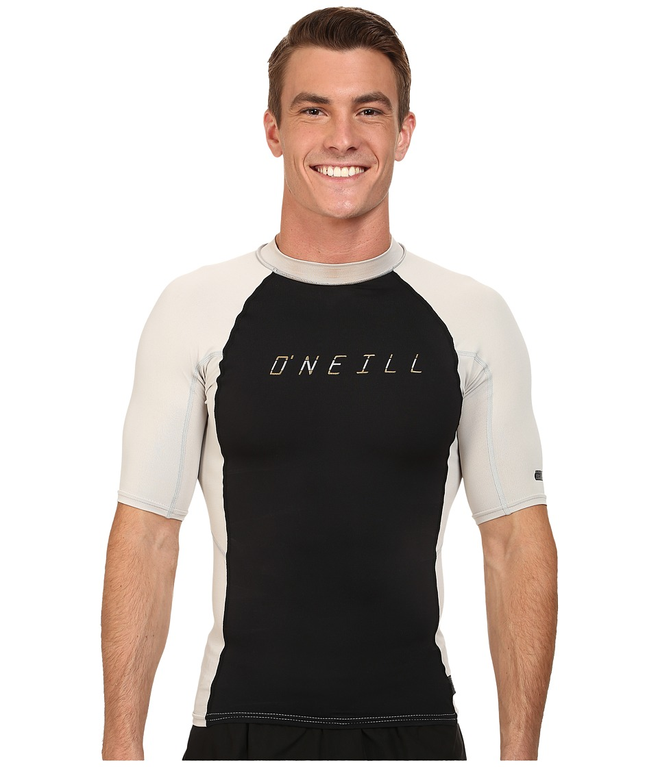 O'Neill - Skins Graphiteic Short Sleeve Crew (Black/Lunar) Men's Swimwear