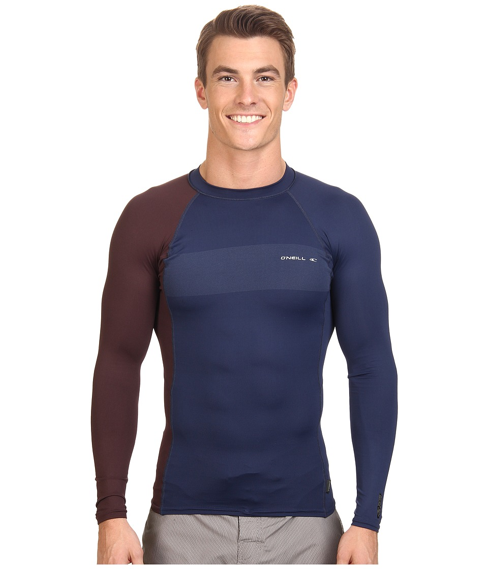 O'Neill - Skins Graphiteic Long Sleeve Crew (Navy/Myers) Men's Swimwear