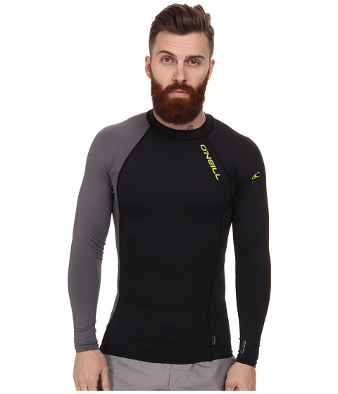 O'Neill - Skins Graphiteic Long Sleeve Crew (Black/Graphite) Men's Swimwear