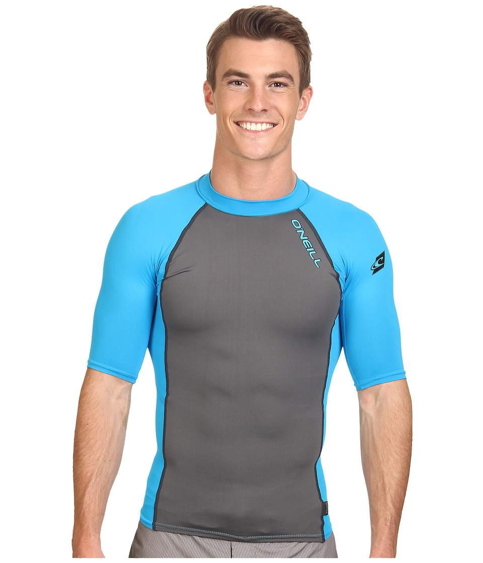 O'Neill - Skins Graphiteic Short Sleeve Crew (Graphite/Sky) Men's Swimwear