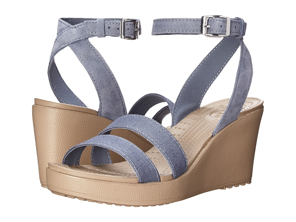 Crocs - Leigh Wedge (Storm/Mushroom) Women's Shoes