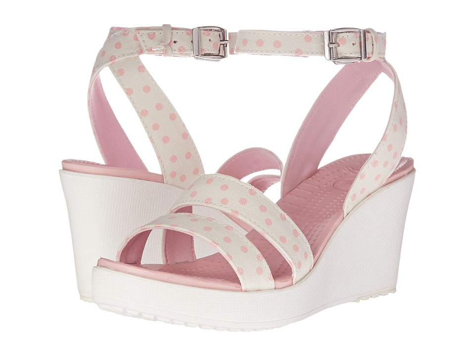 Crocs - Leigh Graphic Wedge (White/Pearl Pink) Women's Wedge Shoes
