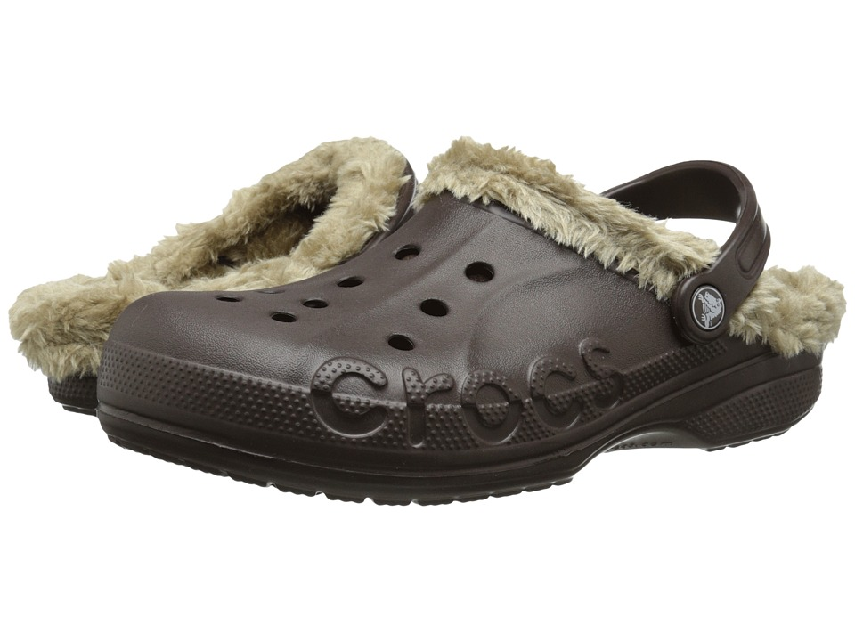 Crocs - Baya Plush Lined Clog (Espresso/Khaki) Clog Shoes