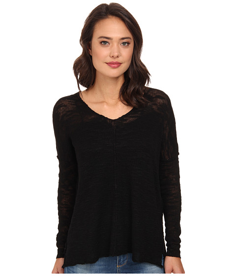 525 america - Inside Out Seam V-Neck Tunic (Black) Women's Long Sleeve Pullover