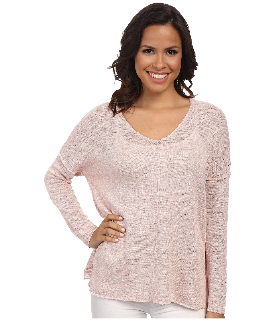 525 america - Inside Out Seam V-Neck Tunic (Pink Blush) Women's Long Sleeve Pullover