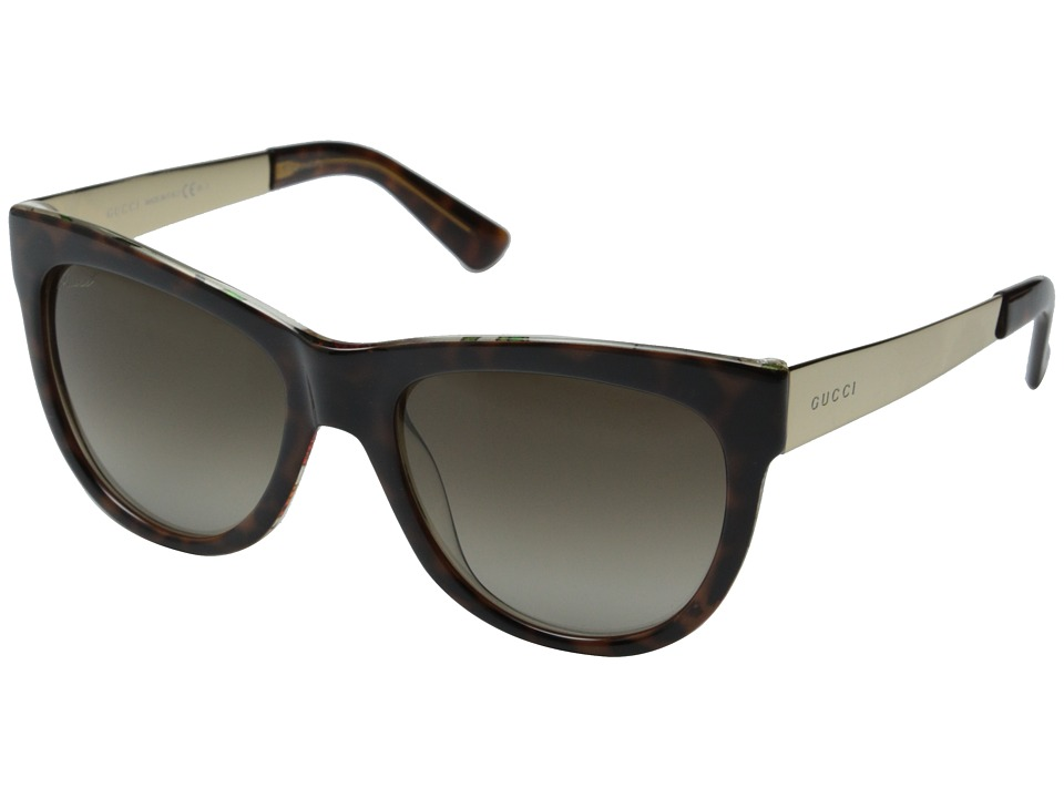 Gucci - GG 3739/S (Havana Floral Crystal/Brown Gradient) Fashion Sunglasses