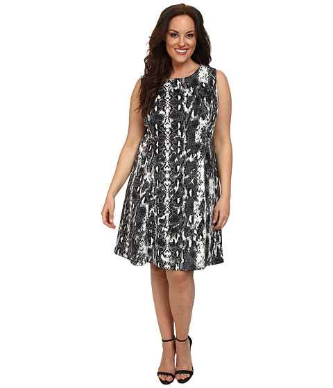 Calvin Klein Plus - Plus Size Printed Scuba Dress w/ Pleat (Black Combo) Women's Dress