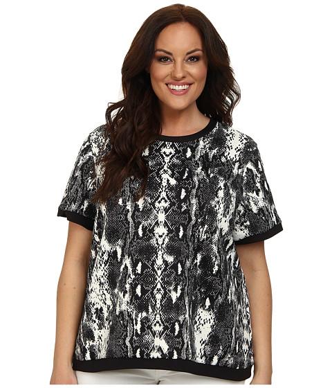 Calvin Klein Plus - Plus Size Short Sleeve Print Pullover (Black Combo) Women