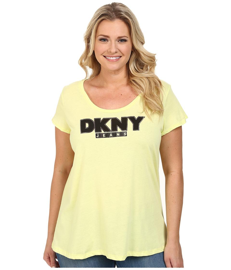 DKNY Jeans - Plus Size Foil Outline Logo Tee (Neon Zest) Women's T Shirt