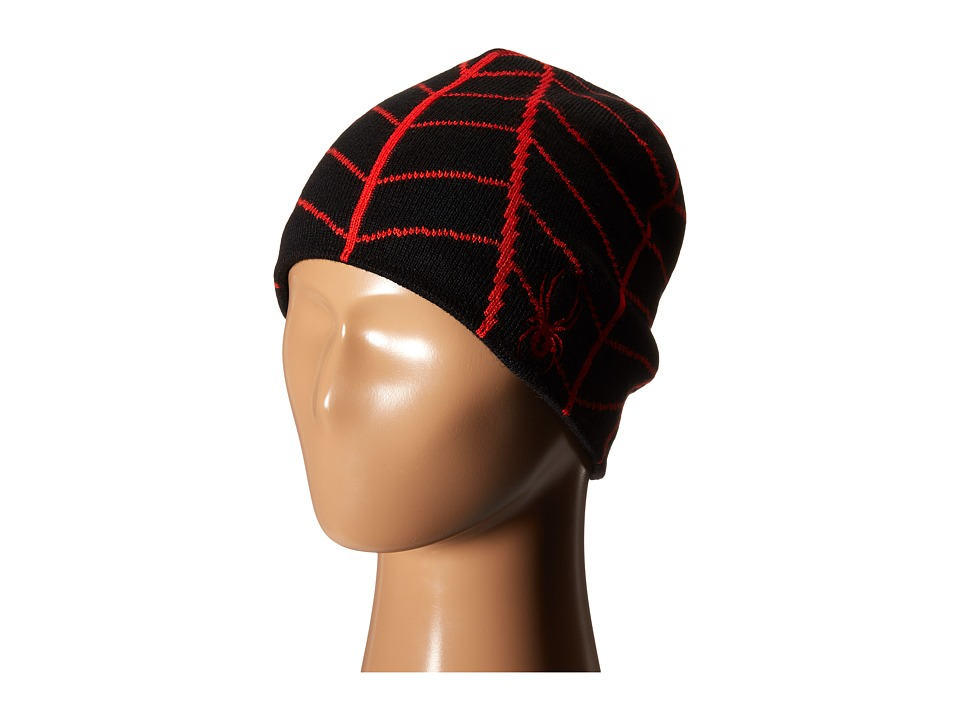Spyder Kids - Mini Web Hat (Toddler/Little Kids/Big Kids) (Black/Volcano) Beanies